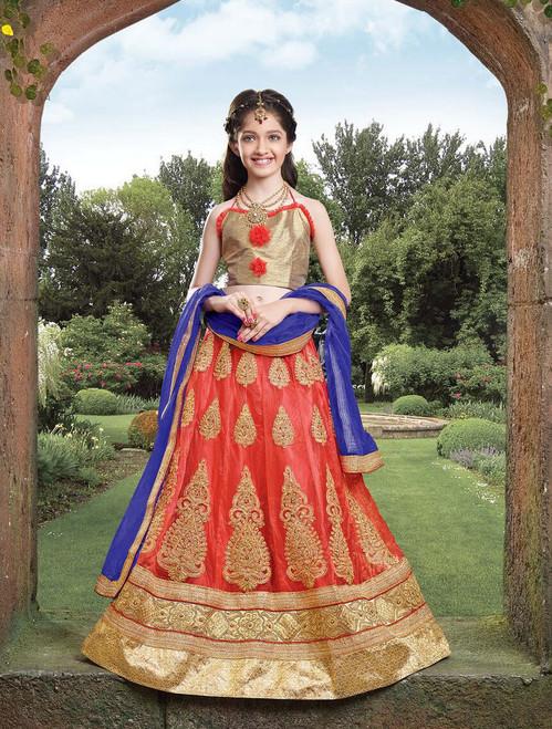 Orange color Net Fabric Kids Wear Lehenga Choli