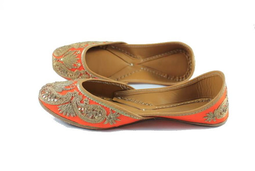 Awesome Orange Handmade Pure Leather Jutti7
