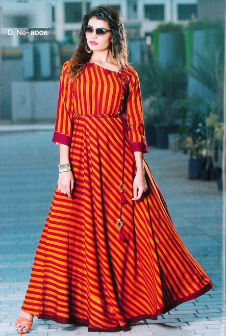 Red and Orange color Quarter Sleeves Floor Length Flared Rayon Fabric Maxi Dress