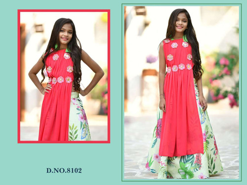 Red and Pista Green color Cut Sleeves Floor Length Printed Gown or Indowestern Georgette Fabric Dress