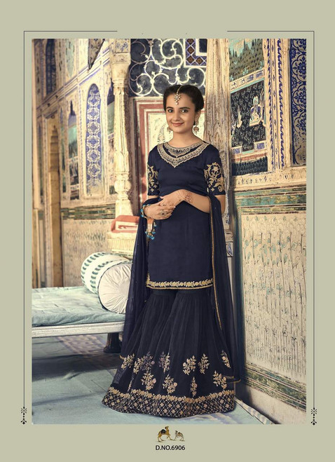Navy Blue color Georgette Fabric Embroidered Sharara style Kids Suit