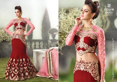 Red & Pink Color Beautifully Designed Lehenga