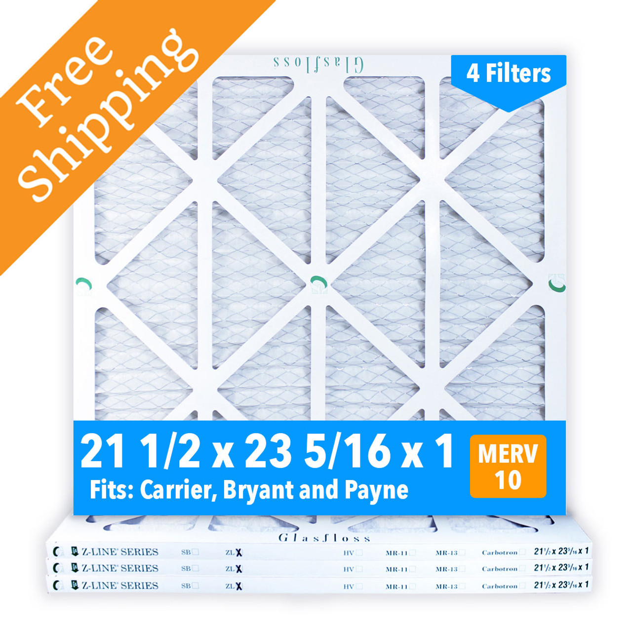 21 1 2x23 5 16x1 Merv 10 Glasfloss Pleated Air Filter Box Of 4 Made In Usa