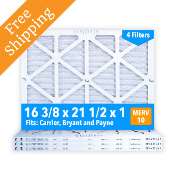 16-3/8x21-1/2x1 Air Filter, for Carrier, Bryant and Payne, MERV 10 Pleated Glasfloss ZLP16F21H1