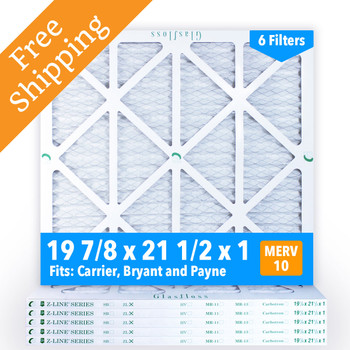19-7/8x21-1/2x1 Air Filter, MERV 10 Pleated Glasfloss ZLP19P21H1