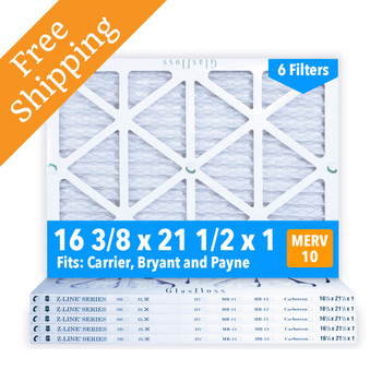 16-3/8x21-1/2x1 Air Filter, MERV 10 Pleated Glasfloss ZLP16F21H1