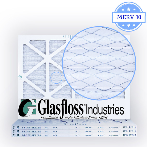16-3/8x21-1/2x1 Air Filter, MERV 10 Pleated Glasfloss Media Zoomed