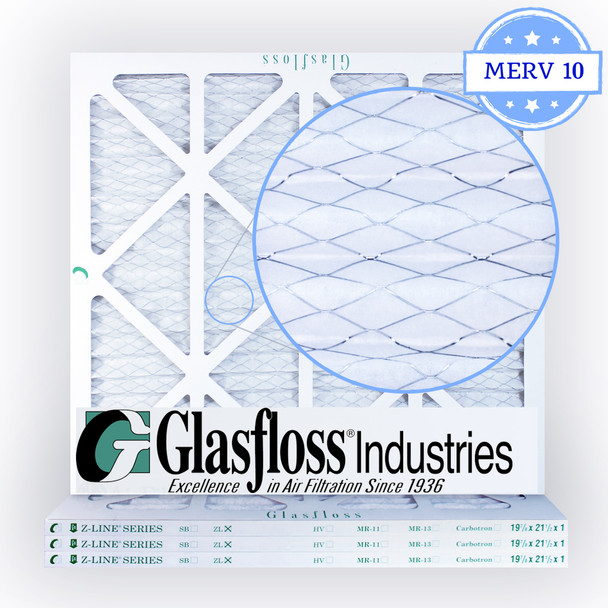 19-7/8x21-1/2x1 Air Filter, MERV 10 Pleated Glasfloss Media Zoomed