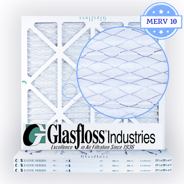 21-1/2x23-5/16x1 Air Filter, MERV 10 Pleated Glasfloss Media Zoomed