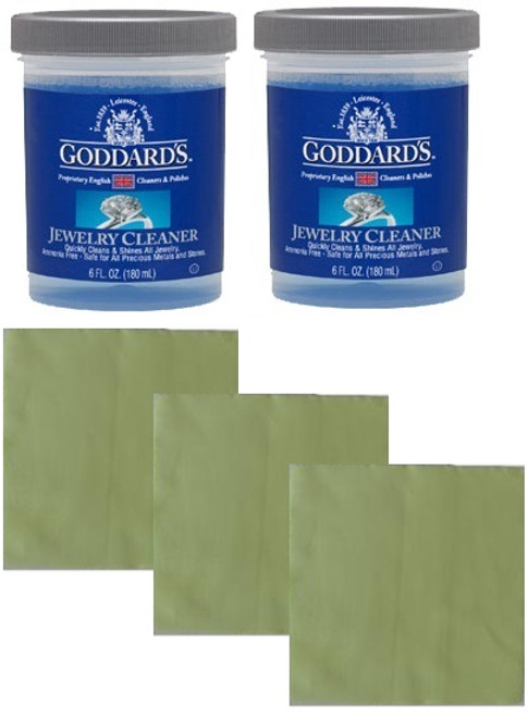 2 Goddard's Jewellery Cleaner Care Kits With Free Cloth Set
