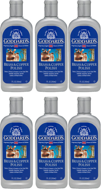 GODDARDS LONG TERM BRASS AND COPPER POLISH 210ml 6 PACK