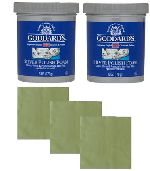 2 Goddard's Long Term Silver Pad Foam With A Free Jewellery Cloth Set