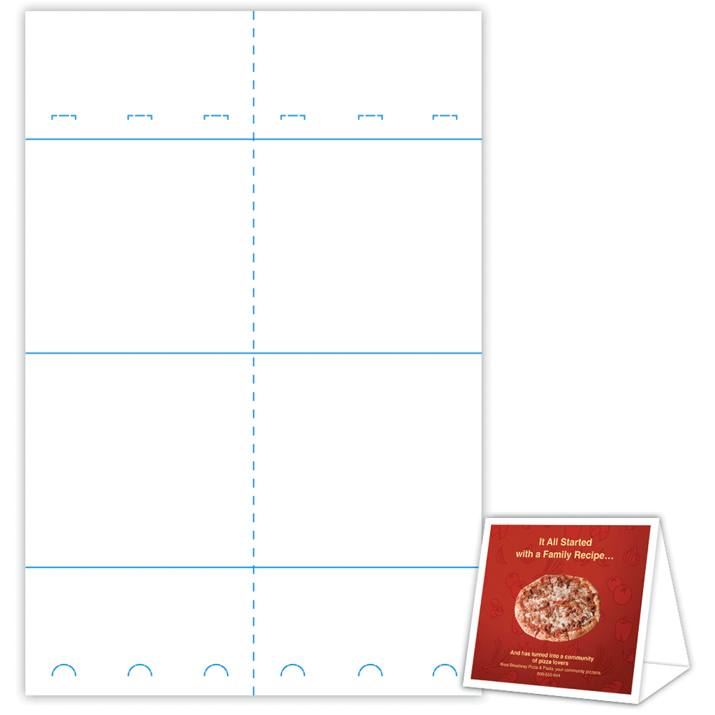 6 X 2875 5625 Table Tent Sheet And Sample