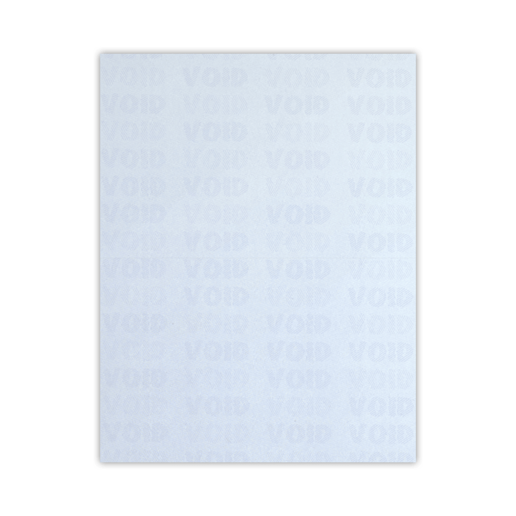 """Security Business Form, 1-up on 8.5"""" x 11"""" sheet"""