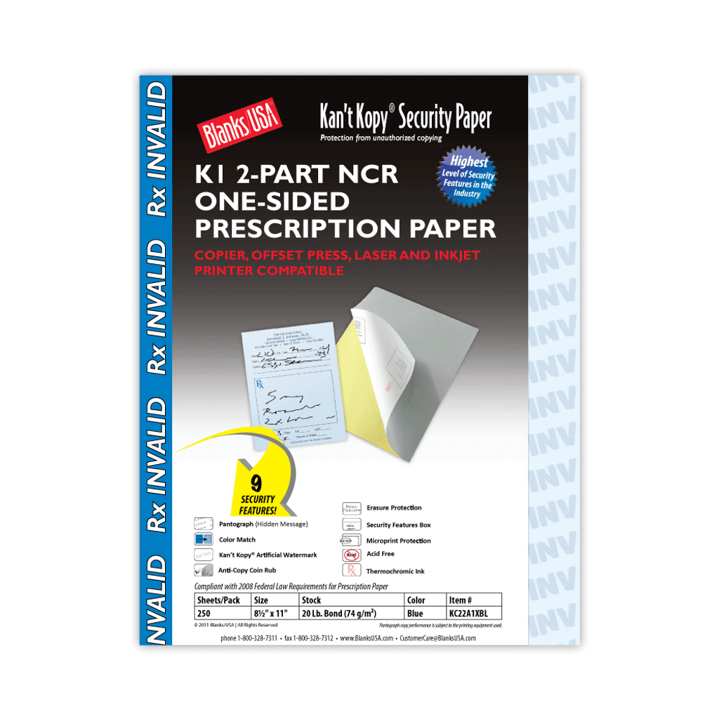 Kan't Kopy Carbonless Prescription Paper