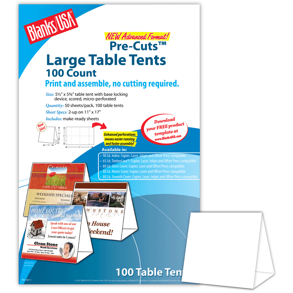 """Digital Table Tent, 2-up on 11"""" x 17"""" sheet"""