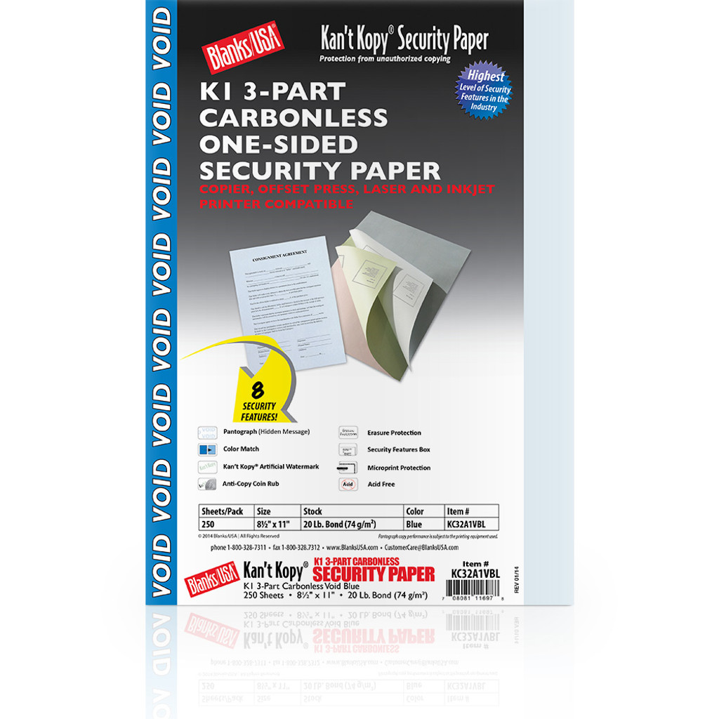 Kan't Kopy Carbonless Security Paper