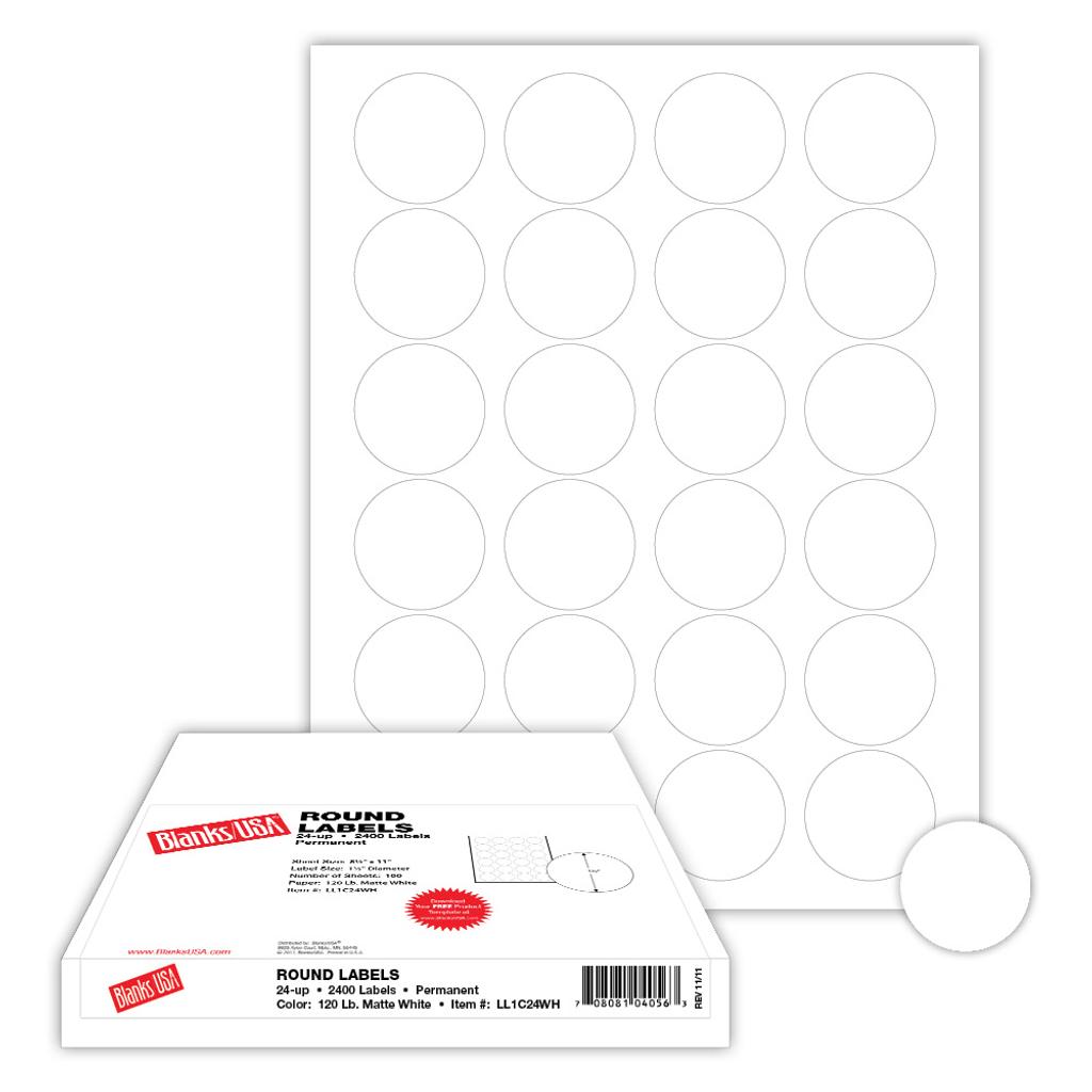 "1.67"" Round Label, 24-up on 8.5"" x 11"" sheet"