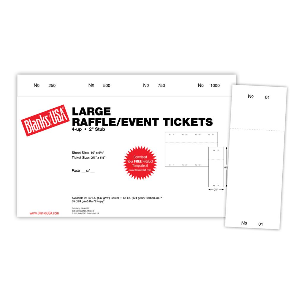 "Raffle Ticket, 4-up on 10"" x 6.5"" sheet"