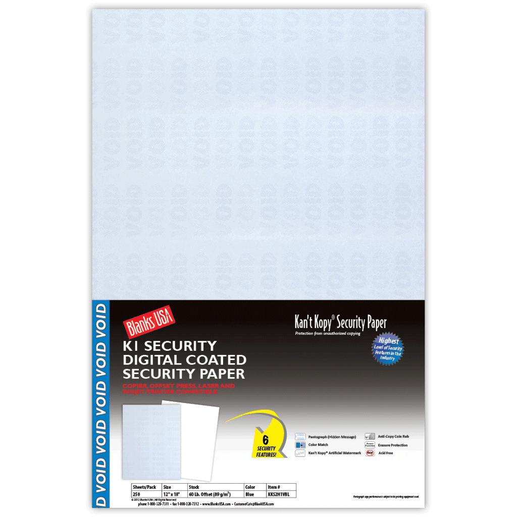 Kan't Kopy Digital Coated Security Paper