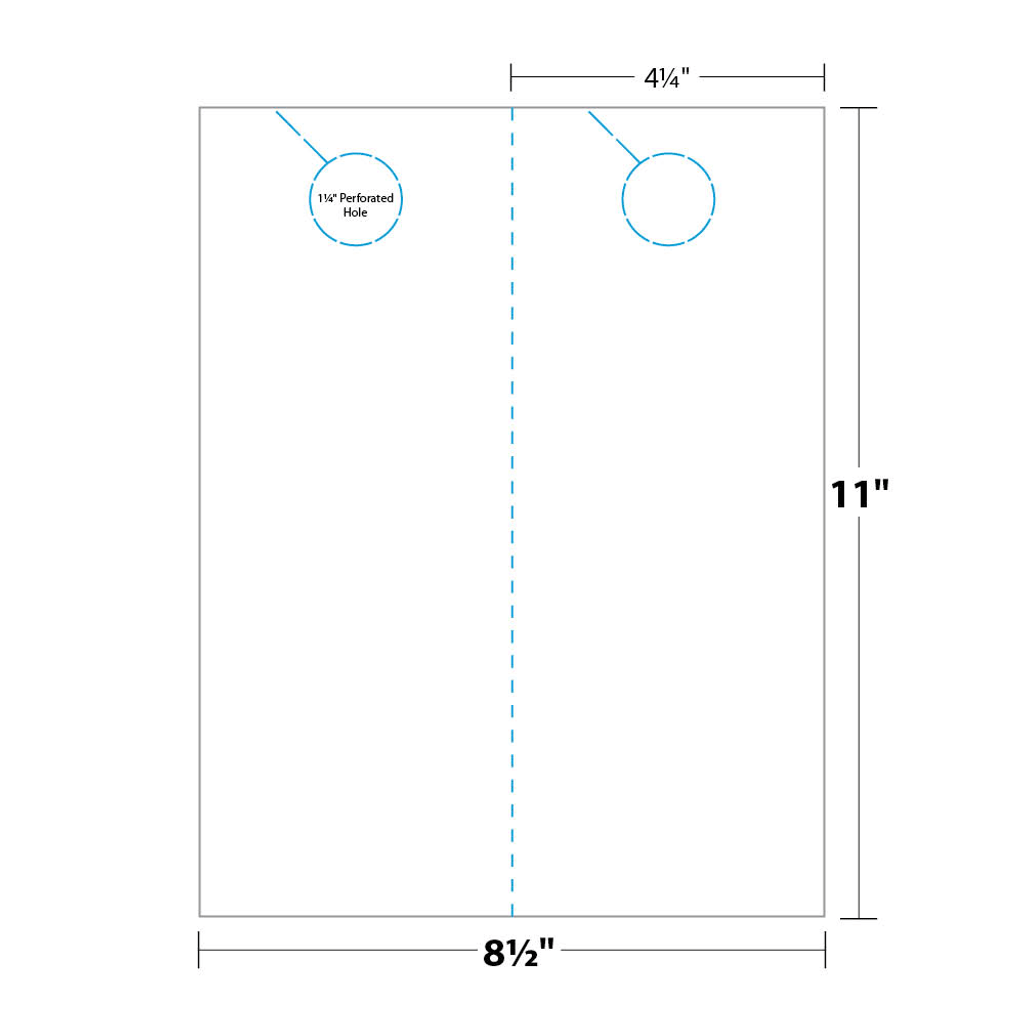 Door Hanger measurements and dimensions. 2-up