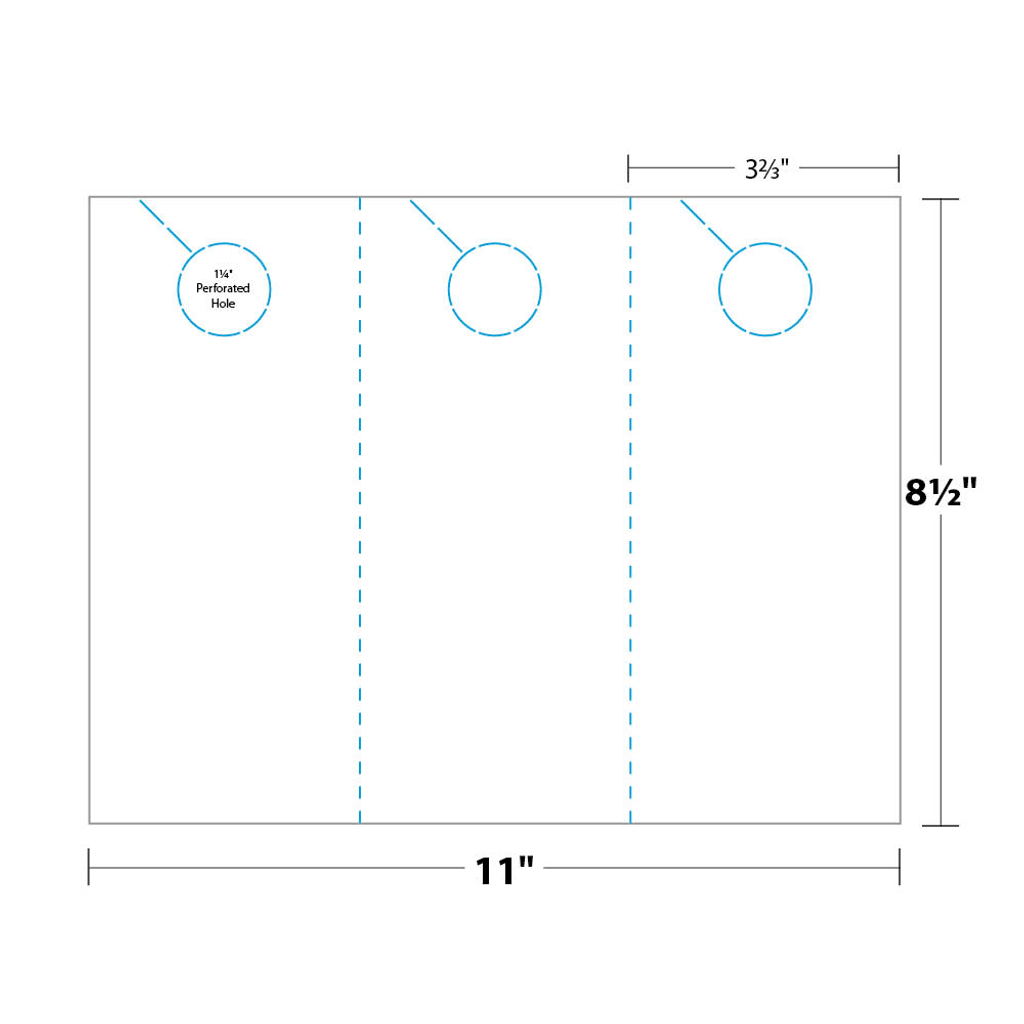 Door Hanger measurements and dimensions 3-up