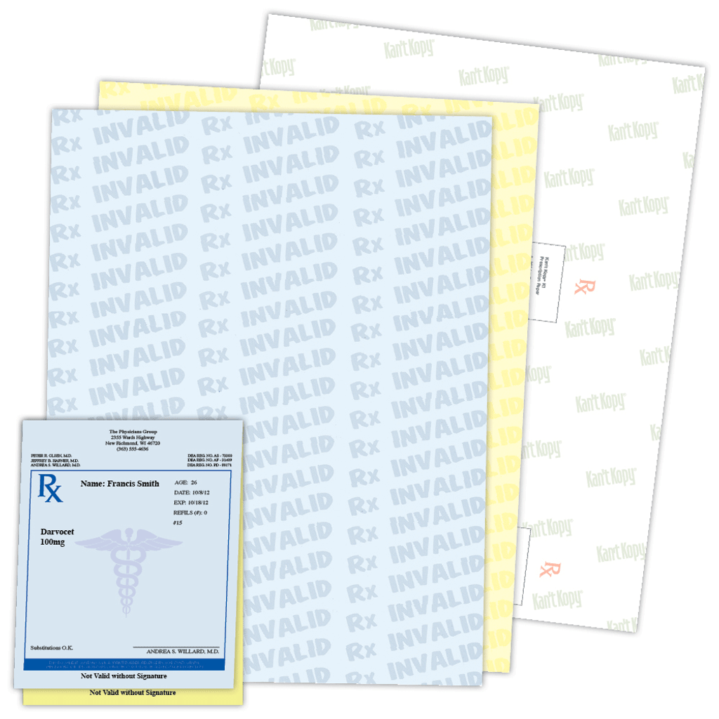 Prescription Paper sample and sheet.