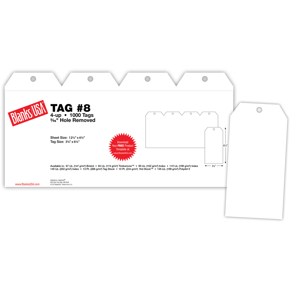 """Tag #8, 4-up on 12.5"""" x 6.25"""" sheet"""