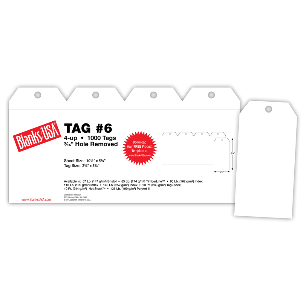 """Tag #6, 4-up on 10.5"""" x 5.25"""" sheet"""
