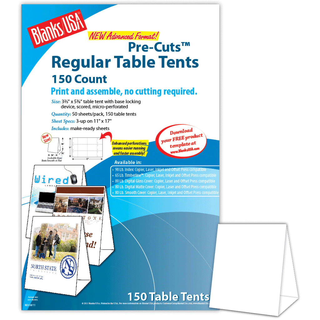 """Digital Table Tent, 3-up on 11"""" x 17"""" sheet"""