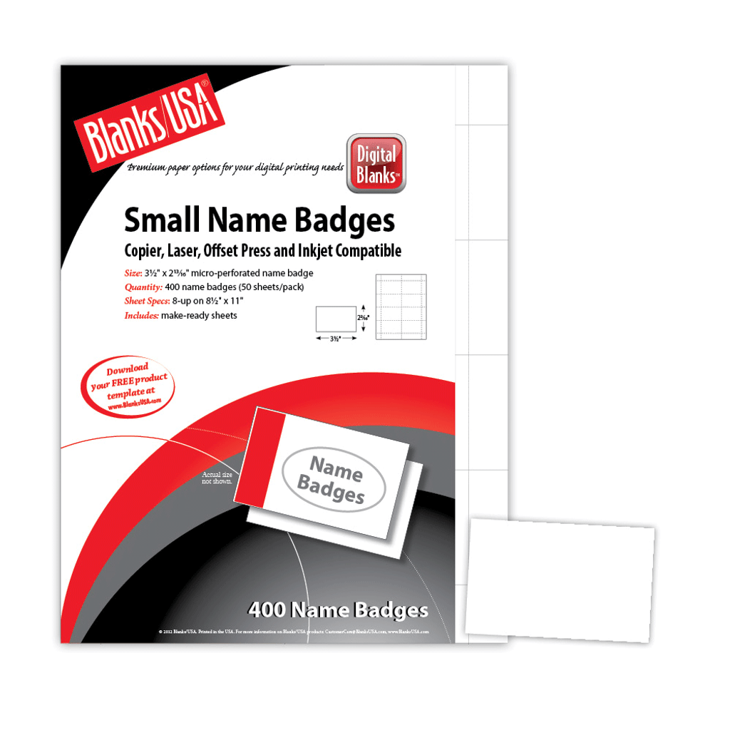 "Name Badge, 8-up on 8.5"" x 11"" sheet"