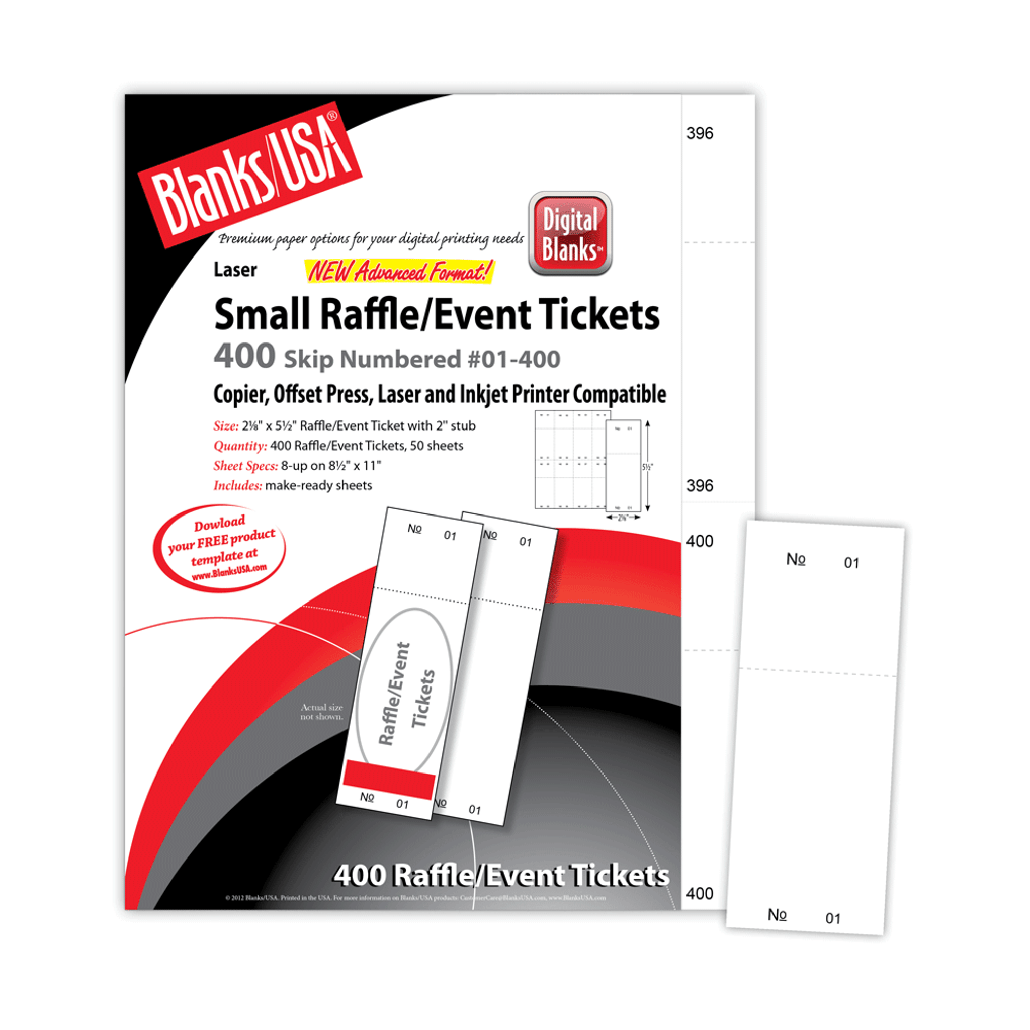 picture about Printable Ticket Paper titled Micro-Perforated Very low Raffle/Party Ticket, Numbered, 8 Tickets/Sheet