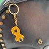 Glitter gold ribbon keyring/bag charm
