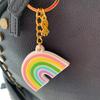 Rainbow keyring/bag charm with gold ribbon