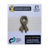 New! Antique effect gold ribbon pin badge
