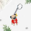 Winter pug keyring/bag charm