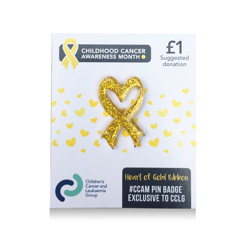 New! 'Heart of gold' gold ribbon pin badge