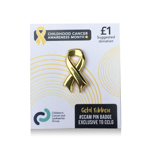 Gold ribbon pin badge