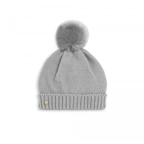 Faux Fur Bobble Hat - Grey   Katie Loxton