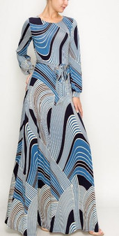 This maxi dress is available in black, navy, mustard and red in sizes small, medium, large and extra large.