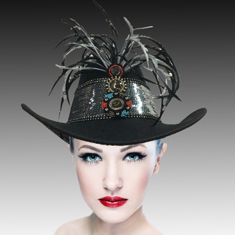 Sequin and feather trimmed western cowboy hat with hand beaded appliqué.