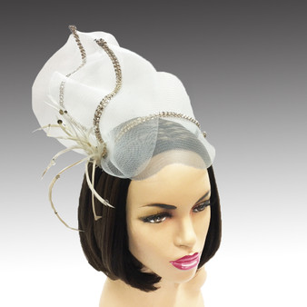 Fascinator with crystal bow and feathers.