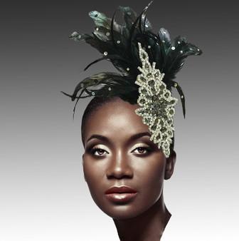 Headband fascinator with crystal leaf.