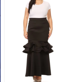 Rayon spandex ruffle skirt is available in black only and in sizes XL, 2X and 3X.