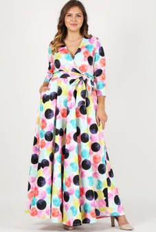 This multi-color dot chiffon dress is available in 1X, 2X and 3X only.