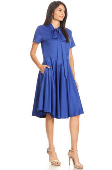 Royal blue bowtie dress