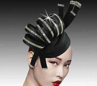 Spiral headband fascinator accented with mirrors, moon rock crystals and diamond dust.