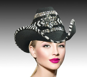 Black and white chevron cowboy hat accented with sequin trim, dark silver head chain link and a hand beaded metallic snowflake.