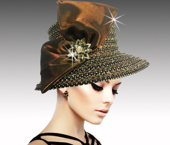 This jewel encrusted bucket hat includes multiple of faceted tonal jewels.
