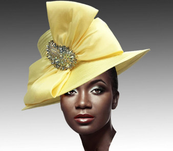 Classic Special Occasion Hat with Shantung Double Bow and Jewel Paisley Brooch.
